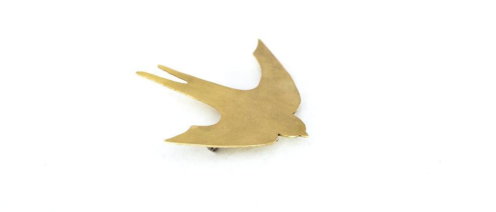 Broszka złota jaskółka