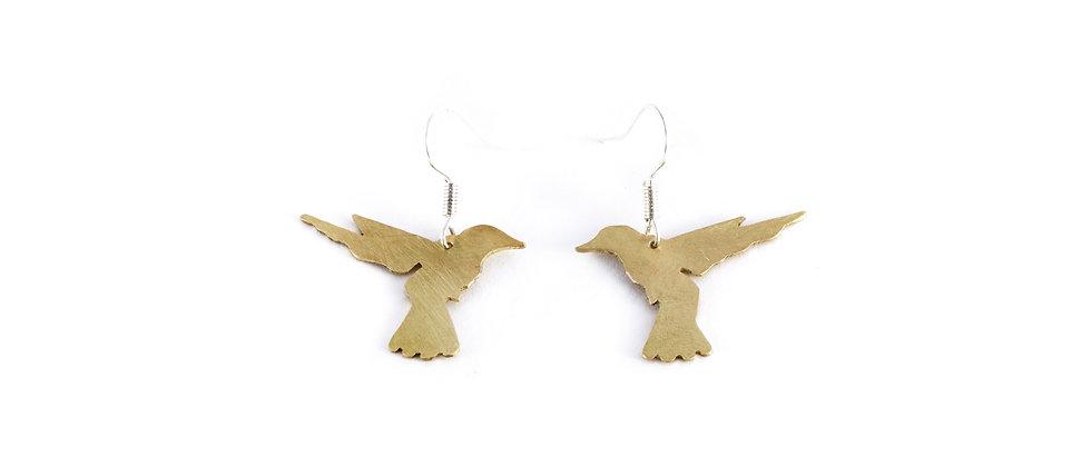 Kolczyki wiszące złote kolibry