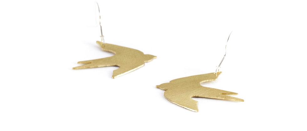 Kolczyki wiszące złote jaskółki