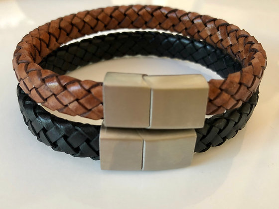 Thick braided leather band with magnetic clasp