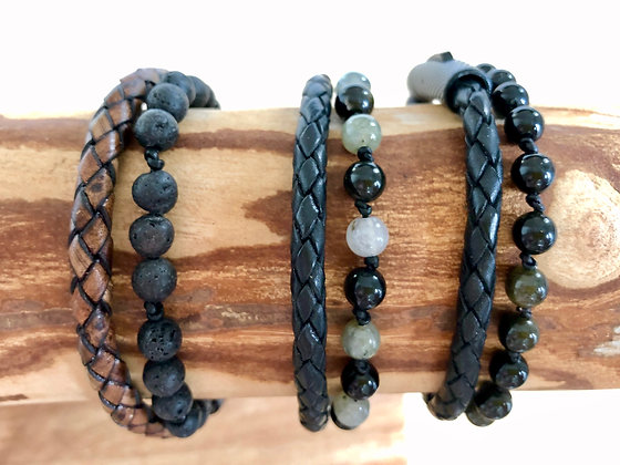 Leather & Gemstone Double Wrap Bracelet- size Medium