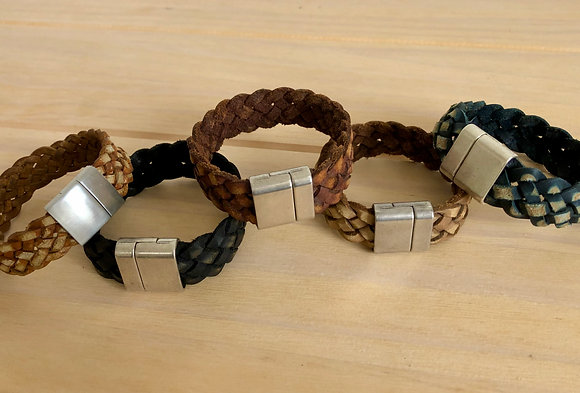 Thick/Wide Braided Buffalo leather band with magnetic clasp