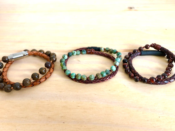 Leather & Gemstone Double Wrap Bracelet- Size Small/Medium