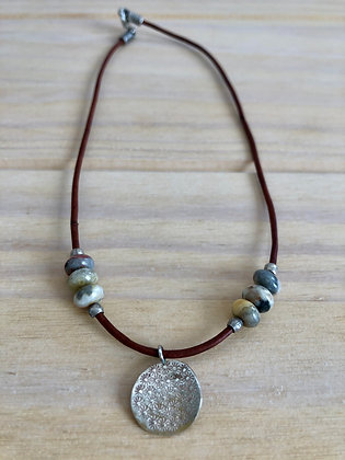 Thai silver pendant & Jasper necklace