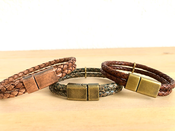 Double braided leather band with brass/copper sliding magnetic clasp
