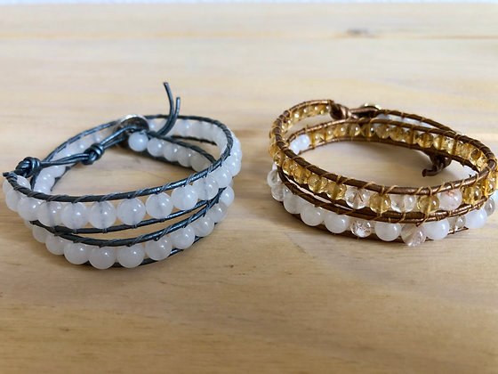 Gemstone Double Wrap Bracelet