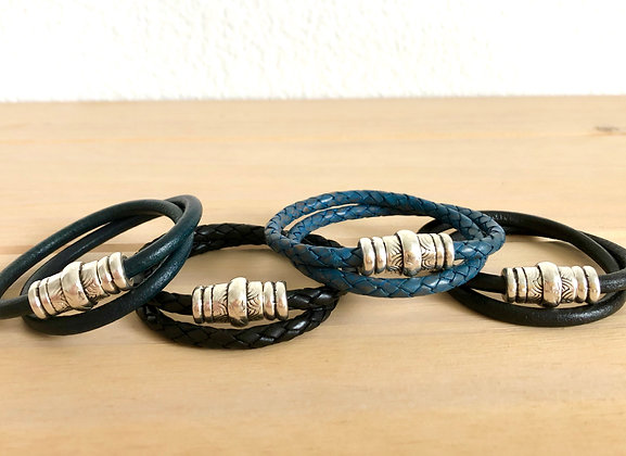 Double wrap leather band with decorative clasp