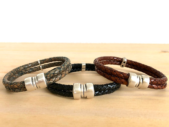 Double braided leather band with silver magnetic clasp