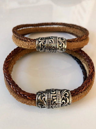 Three in One leather band with magnetic clasp