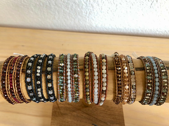 Gemstone Triple Wrap Bracelet