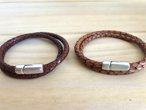 Double braided leather band with silver clasp
