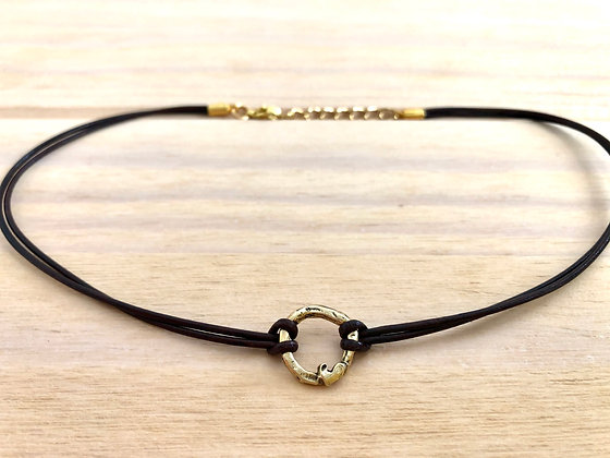 Bronze Circle with Heart Choker