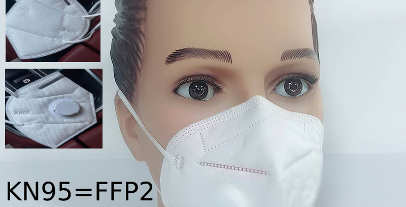 5 piece bundle Face Mask KN95 = FFP2 with filter valve CE approved