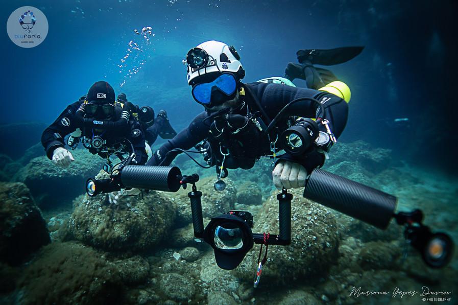 Stratis Kas and Simone Villotti, tech diving, KISS rebreather, Cala Gonone