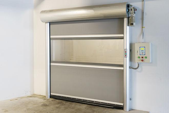 Roller shutter door and concrete floor i