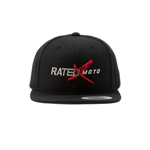 Black Rated X Moto Snapback Hat