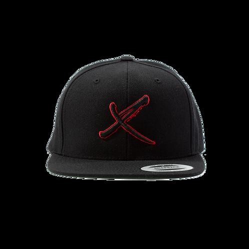 Black X Snapback Hat