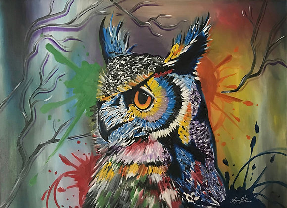 COLORFUL OWL WITH FRAME by Laz Rivera