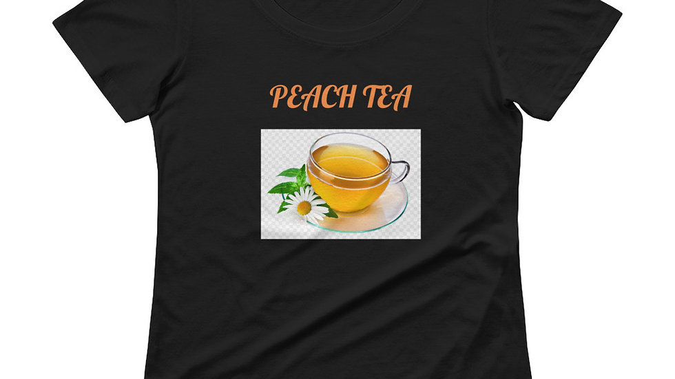 Ladies' Scoopneck T-Shirt - Peach Tea with cup of tea