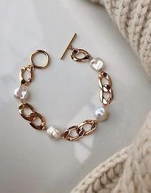 chunky gold filled pearl bracelet joyaux design