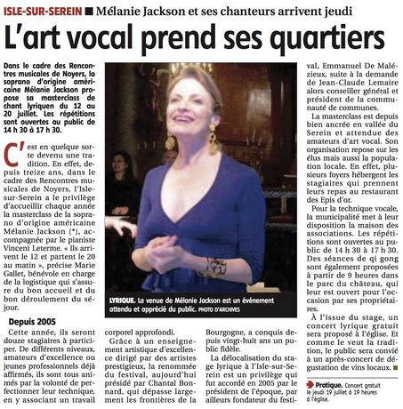 Article de L'Yonne Républicatine, Juillet 2018