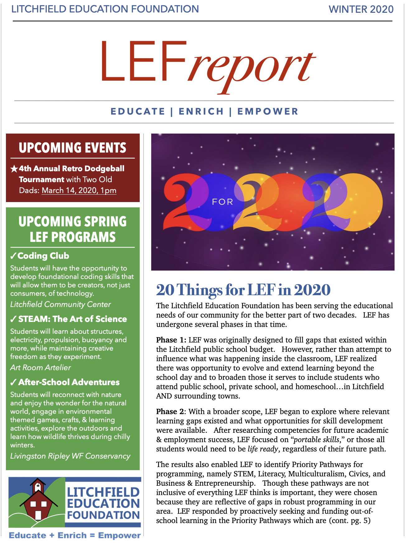 Winter/Spring 2020 LEF Report