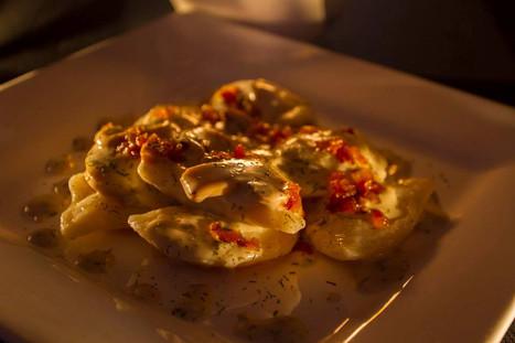 Pierogies and Mushroom Sauce