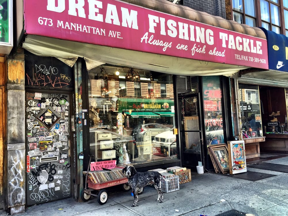 Yup, finally, fishing gear and vinyl records all in one place