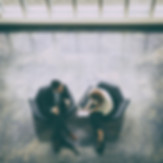 גבר ואישה יושבים על כורסאות ומנהלים שיחה
