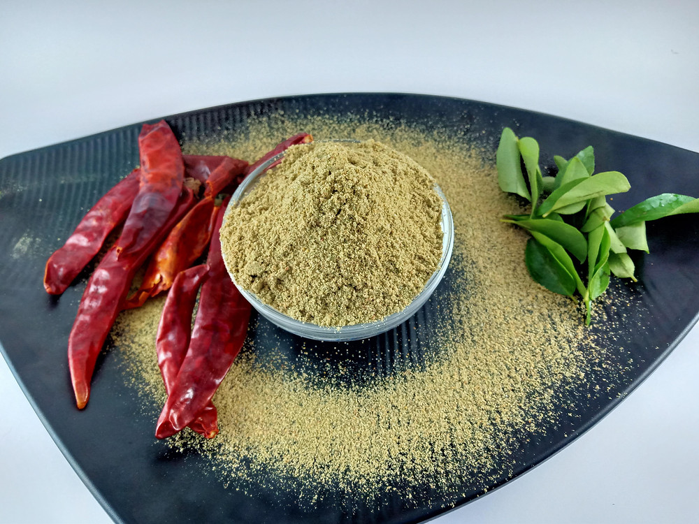 Curry leaves powder, goes well with hot rice, idly and dosa