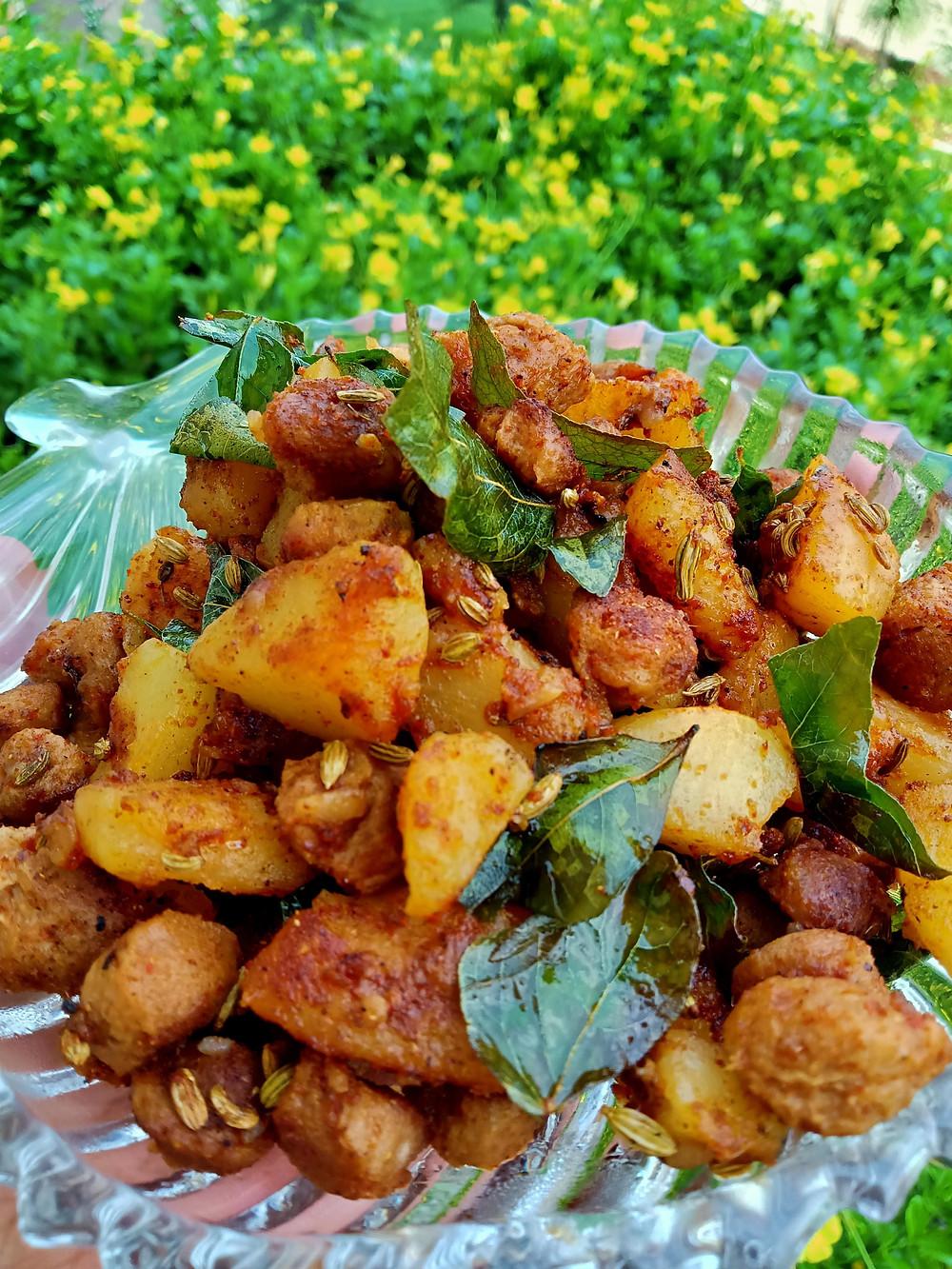 Soya Chunks and potato roast | fry