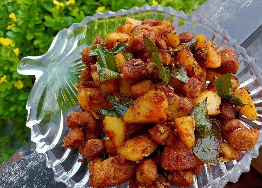 Soya chunks and potato roast recipe