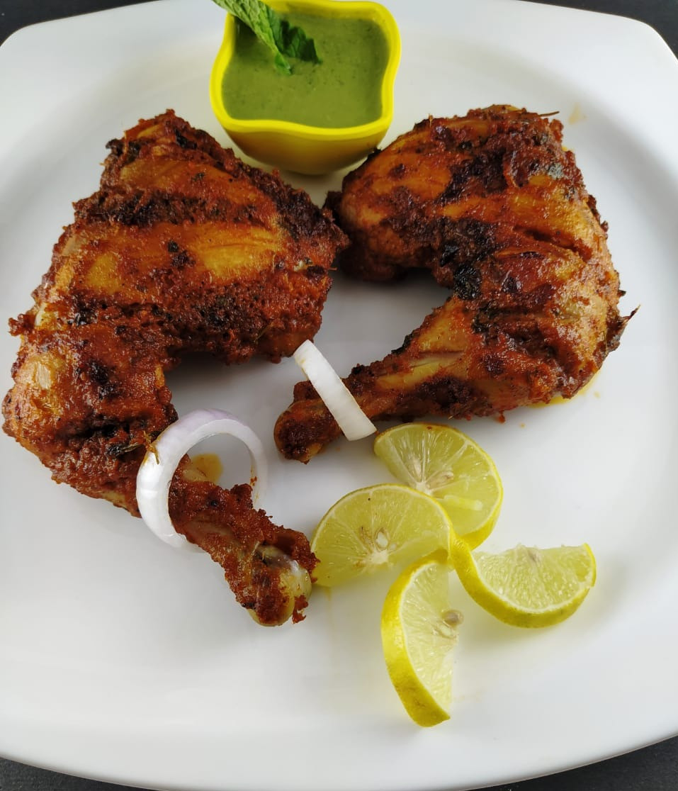 Tandoori Chicken Recipe with Green Chutney