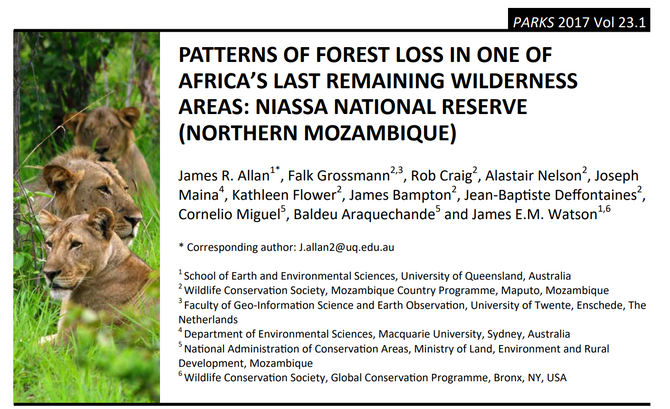 Patterns of forest loss in one of Africa's last remaining wilderness areas: Niassa National Reserve