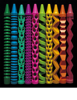 Ten carved crayons (1999-2000)