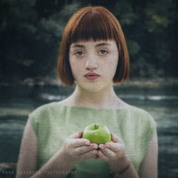 Girl with an apple.
