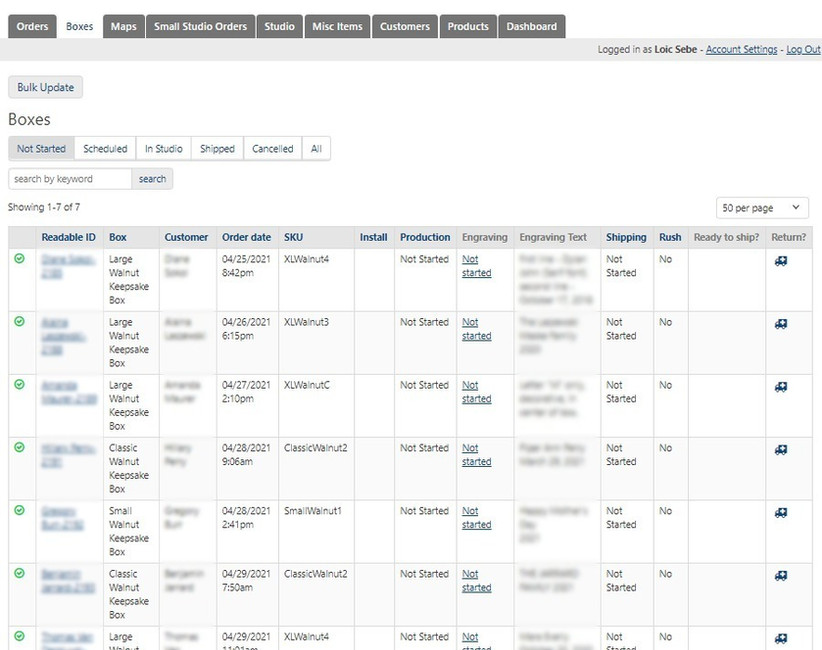 Knack Order Tracker