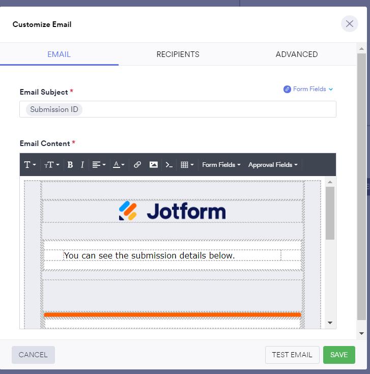 Jotform Approval Email Action set-up part 1