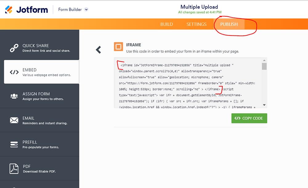 Get Jotform embed Iframe code