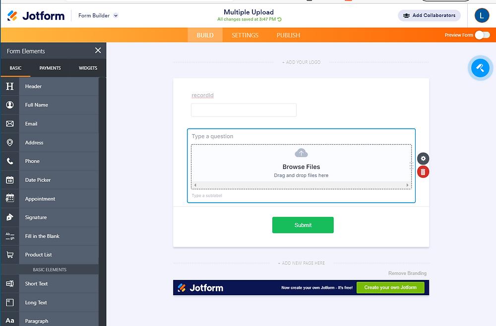 Jotform upload file overview