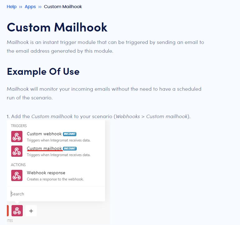 Integromat Mailhook description