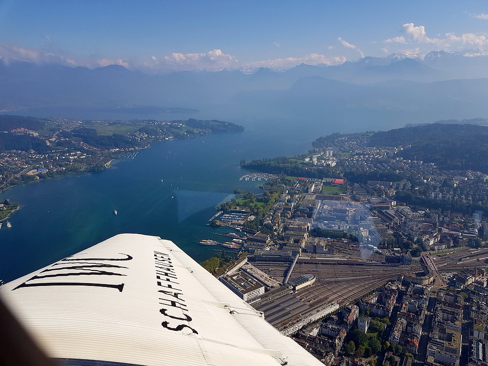 View over lake Luzern from Junkers Ju 52