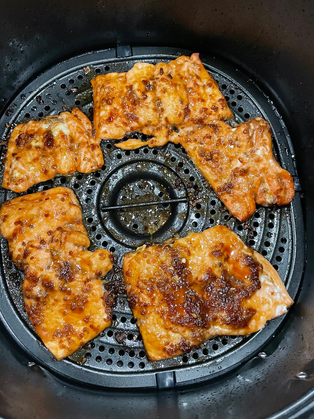 Messy Teriyaki Salmon in an air fryer