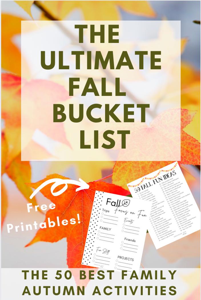 Fall Bucket List Printable Worksheets
