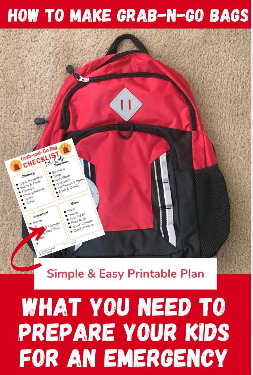 Grab and Go Kit Evacuation Kit Backpack for Kids