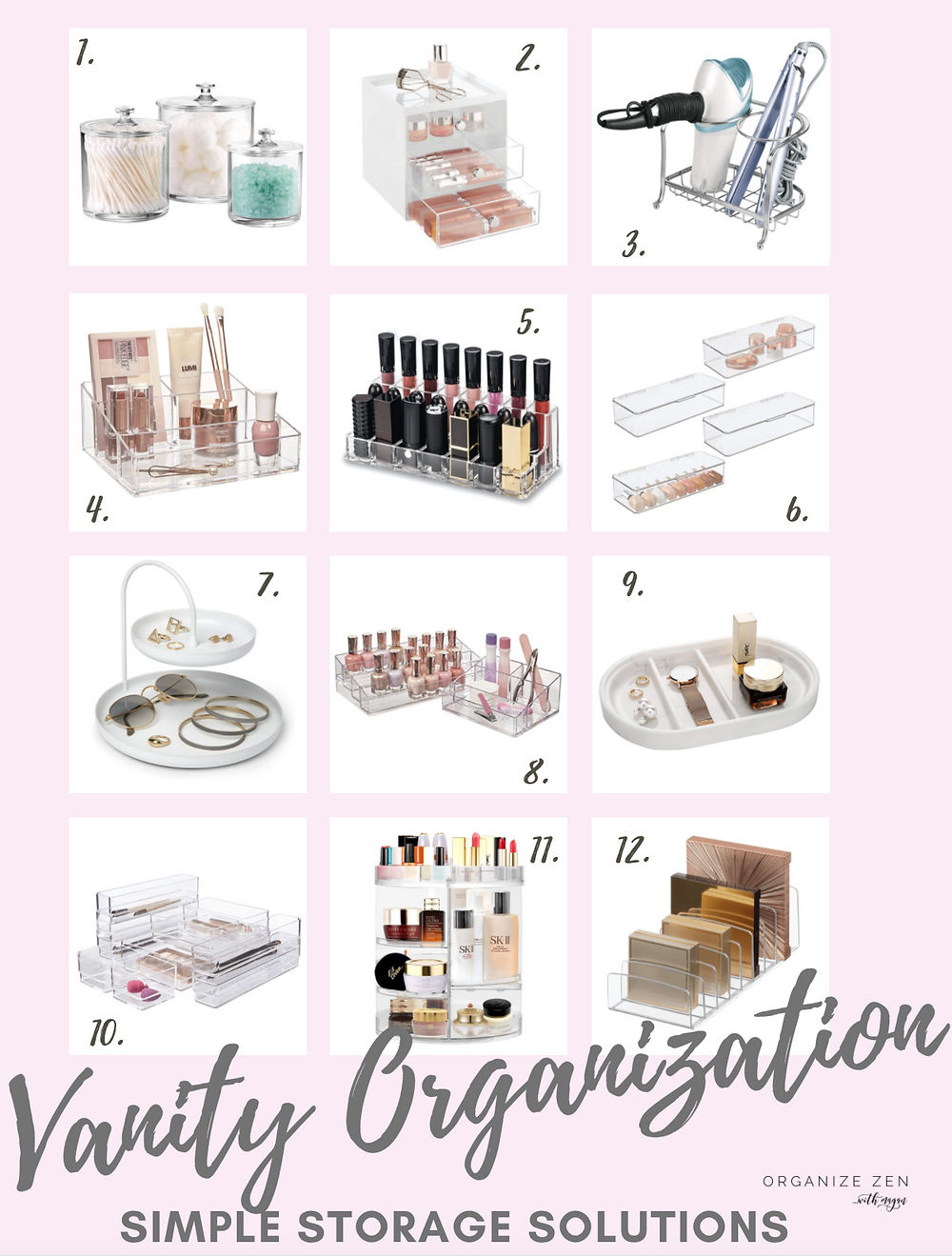 Collage of vanity organizers for makeup and cosmetics