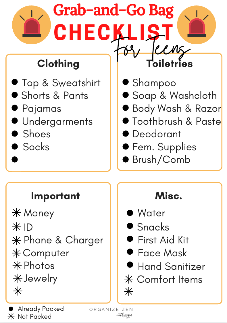Grab and Go Bag Checklist for Teens