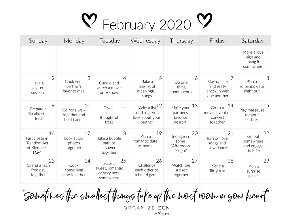 Printable Love Marriage Relationship Challenge February Calendar