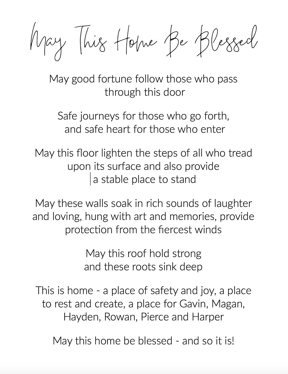Home blessing poem
