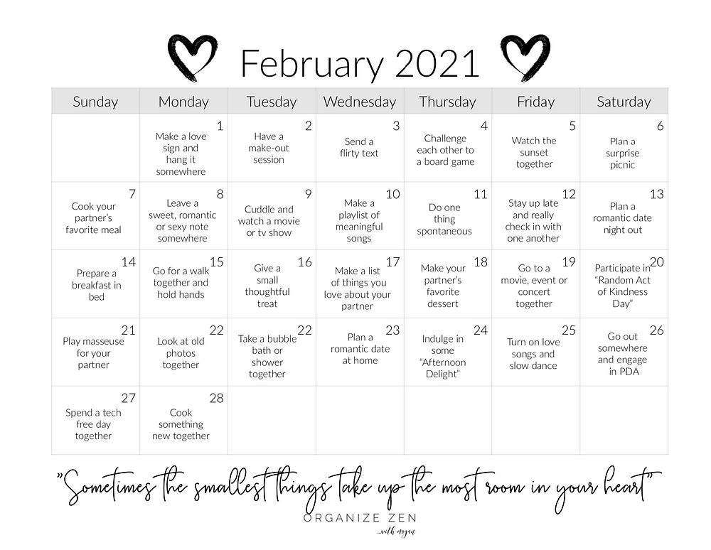 Printable Love Marriage Relationship Challenge February Calendar